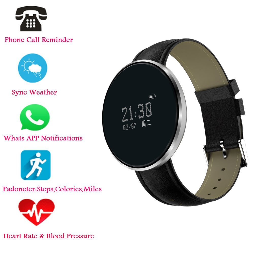 Hangang Bluetooth Smart Bracelet, Heart Rate / Blood Pressure / Blood Oxygen Monitoring ,Waterproof Smart Watch , Fitness Tracker Pedometer Waterproof Watch for Android and iOS (silvery-Skin strap)