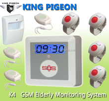 GSM Quad-Band Elder Care at home with easy phone dial + SOS panic button for emergency+24 hours defend gas/water/smoke accident