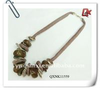 Fashion fabric stone bead necklace (QXNK11559)