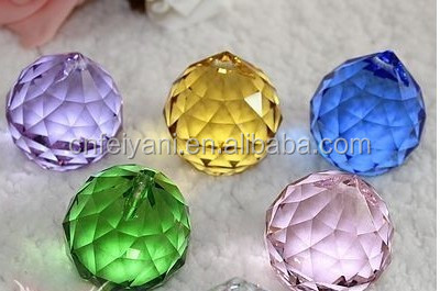 30mm 40mm mix color lucid crystal glass faceted big ball beads