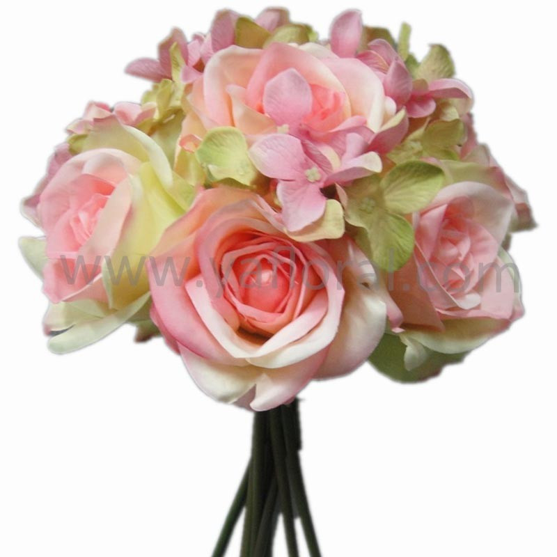 Artificial Silk Flower Bouquet Mixed Hydrangea With Rose,Beautiful ...