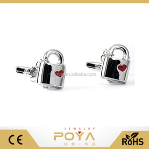Poya Jewelry Hot Sale Love Lock with Heart and Chain Cufflinks