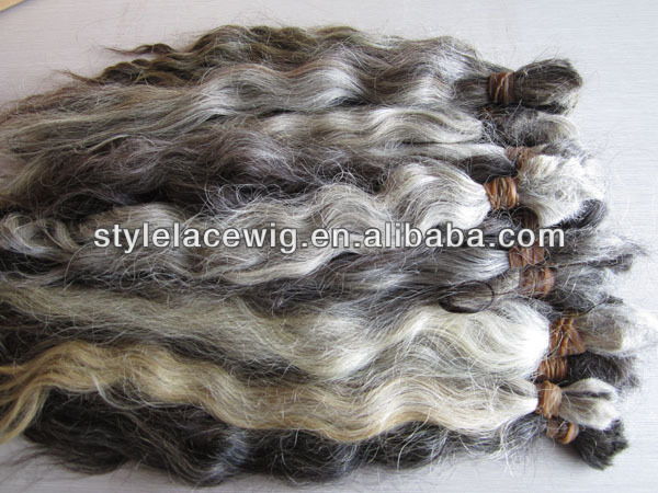 best quality nature grey hair bulk/grey human hair weaving/braid