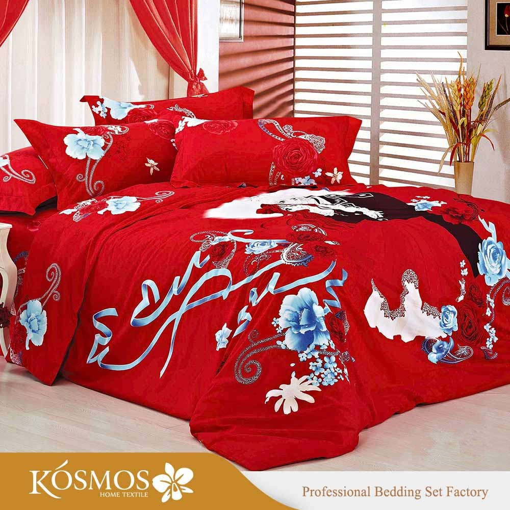 4pcs Factory 3d red print wedding bedsheets cotton