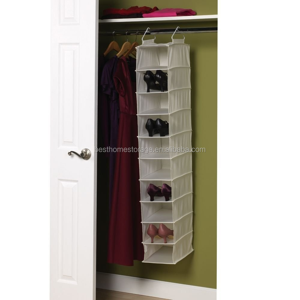 Canvas Soft Storage Hanging Shoe Shelves Organizer With 10 Shelf