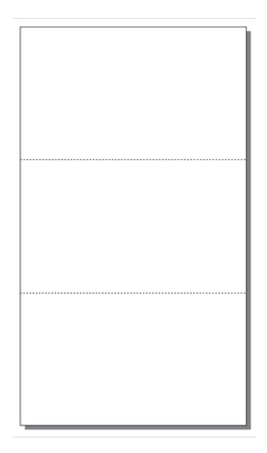 """Print-Ready Post Card (3-1/2"""" x 6""""), 3-UP, Perfed on 6"""" x 10-1/2"""" White 65lb Cover Paper - 250 Sheets (750 Post Cards)"""