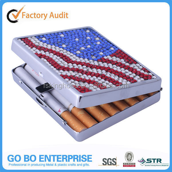 Manufacturer Rhinestone Bling Cigarette Case for Gift