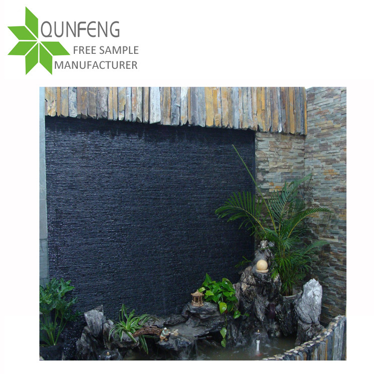 split surface finishing and erosion resistance antacid natural black slate 3d decoration stone wall panel flow board