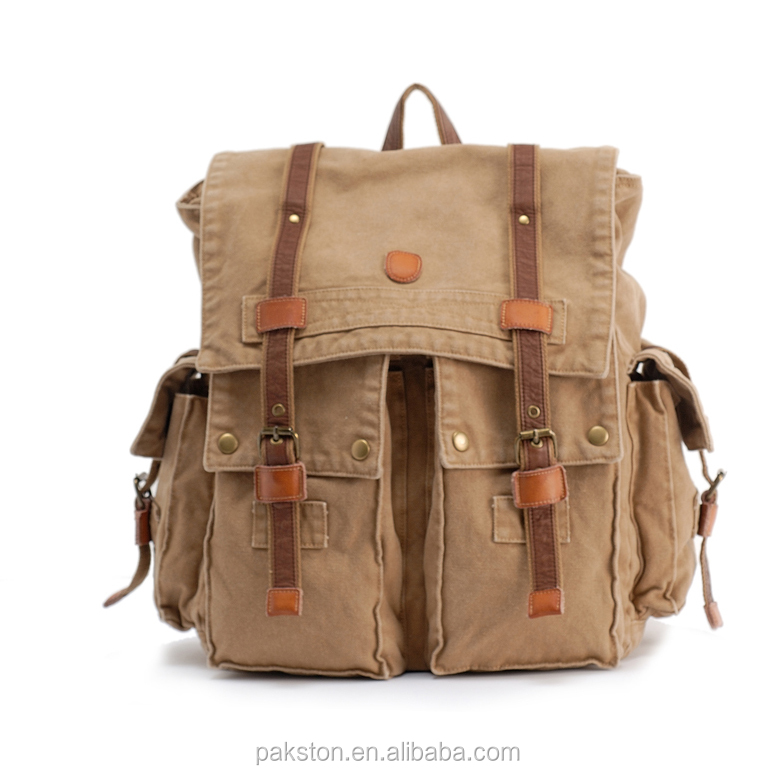 Classical canvas backpack Washed canvas back bag Canvas bag for man
