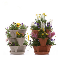 Stackable flower home garden plastic strawberry pots vertical tower planter
