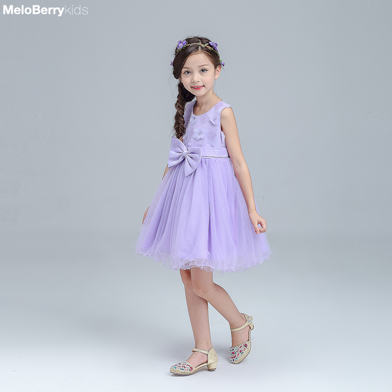 595bea93132 ... 8  summer bow floral toddler baby purple lace princess dress girls kids wedding  party costumes for age ...