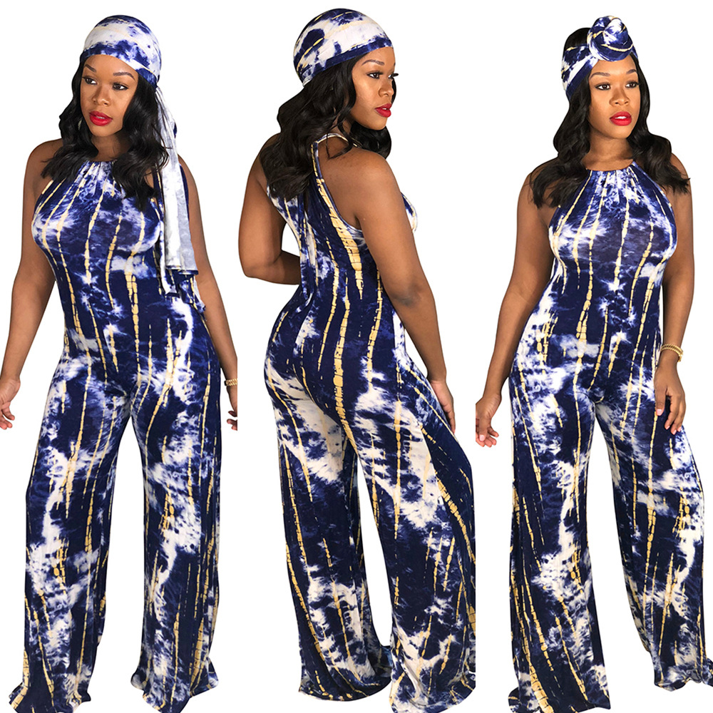 Tie Die Jumpsuit With Scarf Women Sleeveless Wide Leg Jumpsuit Mono Mujer F66