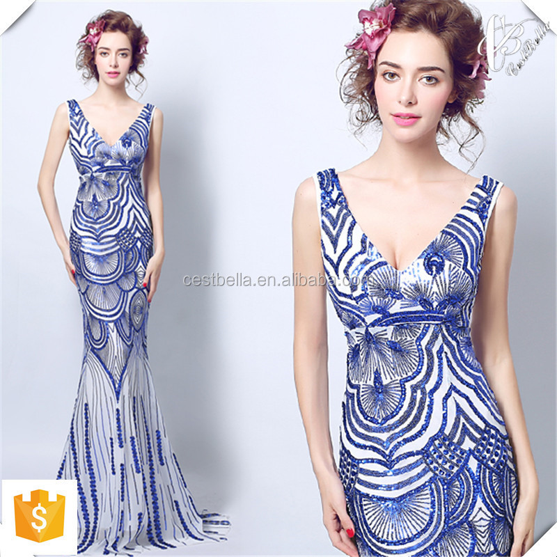 Custom Made Sexy V Neck Mermaid Prom Dress Evening Dress