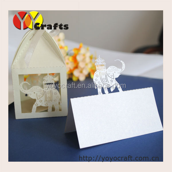 Eco-friendly Love Elephant White Paper Laser Cut Table Tent Cards Lace Floral Wedding Decorate & Eco-friendly Love Elephant White Paper Laser Cut Table Tent Cards ...