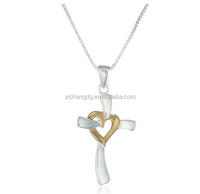 Two Tone Silver and Yellow Gold Heart Cross Key Pendant Necklace for Women