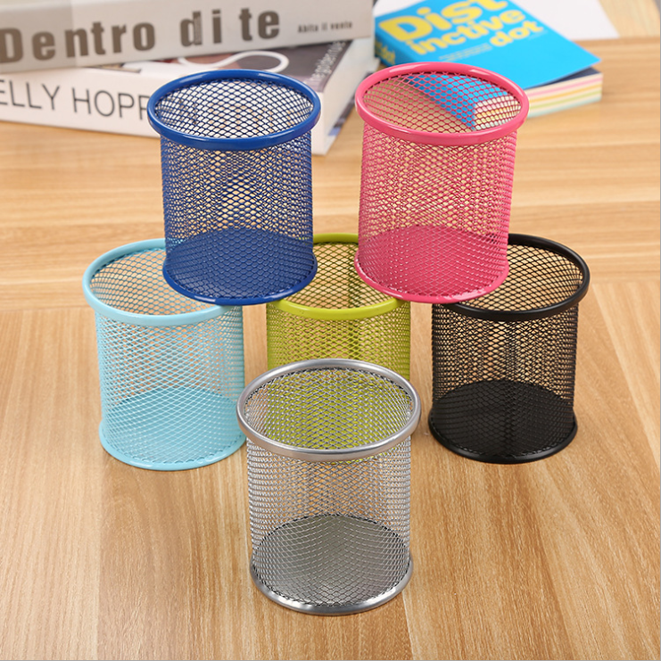 Mesh Pencil Holder Metal Pencil Cup 4 inch Pen Organizer Black 96 Packs