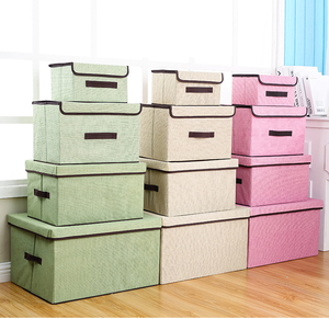 PINK Non-Woven Foldable Storage Organizer Collapsible Box Square Basket Bin With Lid For Room Daily Storage