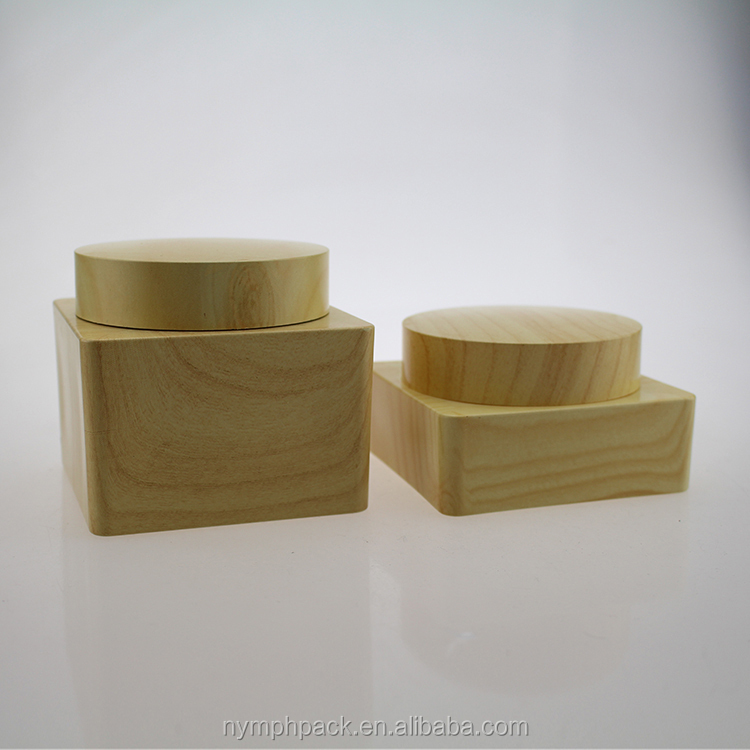 wooden grain cosmetic cream plastic jar with lid 100g 200g