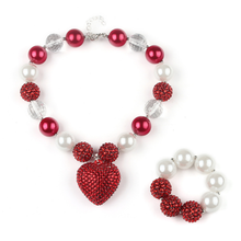 Wholesale child kids chunky bubblegum beads necklace with bracelet