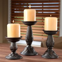 Retro Hosley's Set of 3 Resin Pillar Candle Holders
