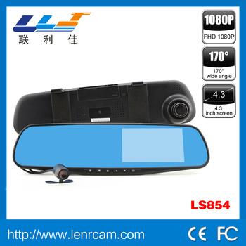 Ls854 Dual Lens Rearview Mirror Car Dvr 4.3 Inch Screen 1080p ...