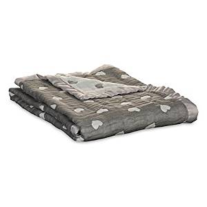 """30"""" W x 40"""" L Living Textiles Sketched Hearts Muslin Jacquard Blanket with Satin Trim in Charcoal Grey"""