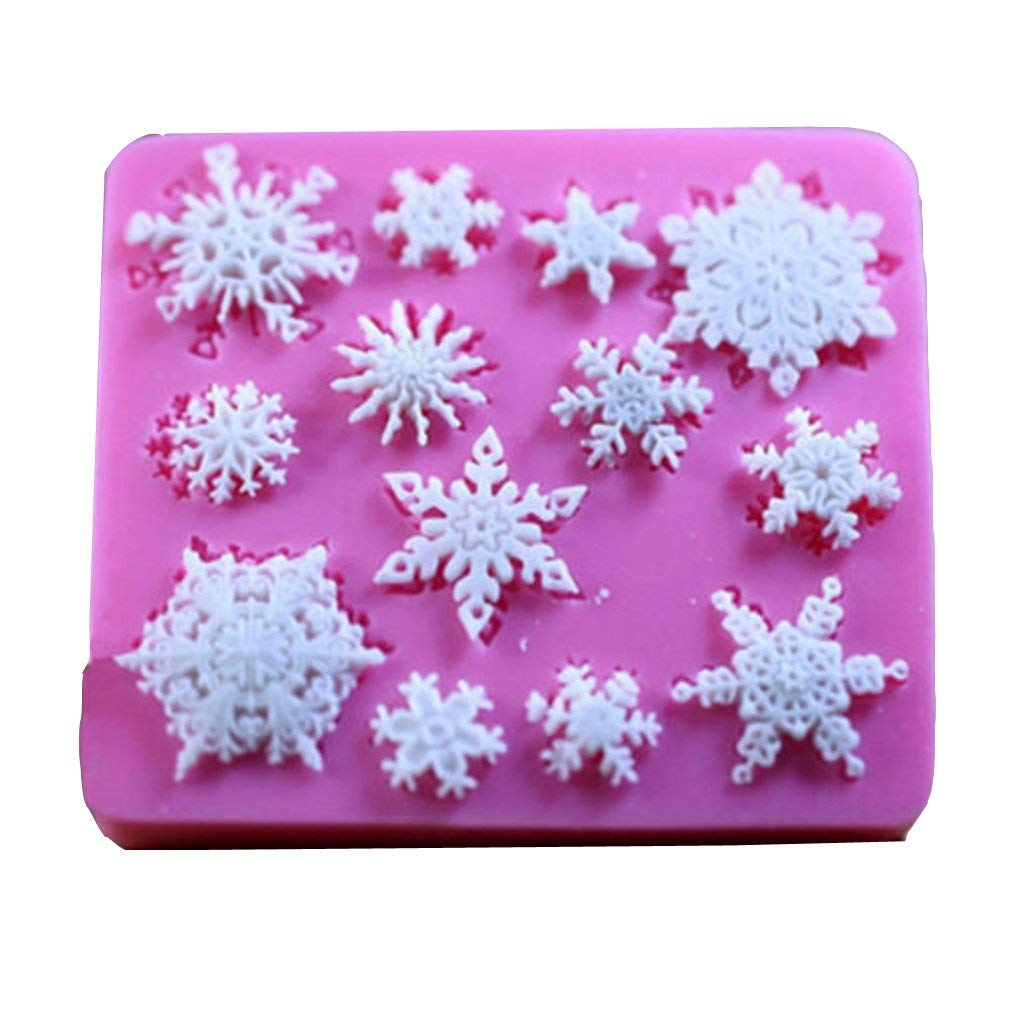 Edtoy Pink Snowflake Style Baking Mold, DIY Chocolate Cake Silicone Mold