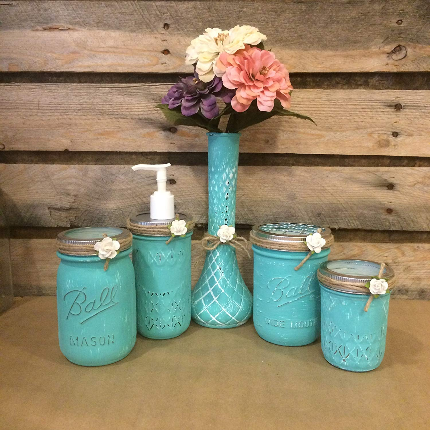 Hand Painted Mason Jar Desk Set or Mason Jar Bathroom Set in Turquoise and White with vintage Hoosier Glass bud vase.