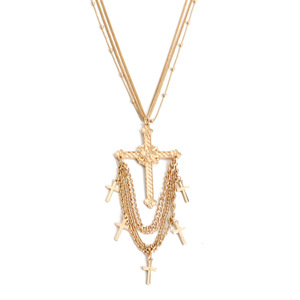 Multilayer Chain Dainty Necklace Tiny Cross Charm Tiny Gold Cross Necklace