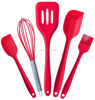Set 5 Multicolor Silicone Spatula Turner Brush Whisk Baking Cooking Kitchen Utensil Set