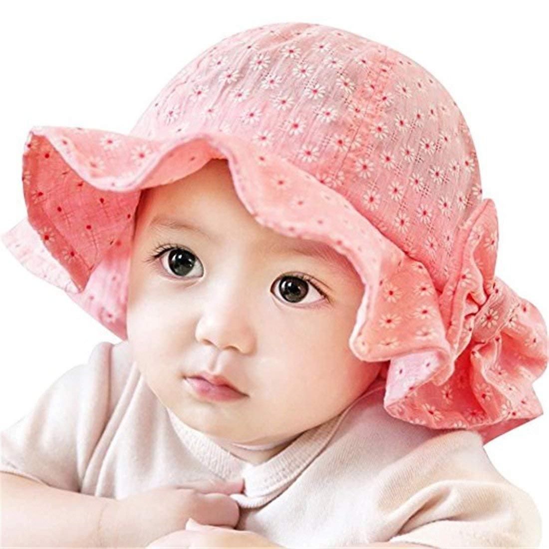 a23411c547d92 Get Quotations · Baby Girl Bucket Hat Pink Floral Ruffle Bowknot UPF 50+  Outdoor Kids Sun Hat Cap