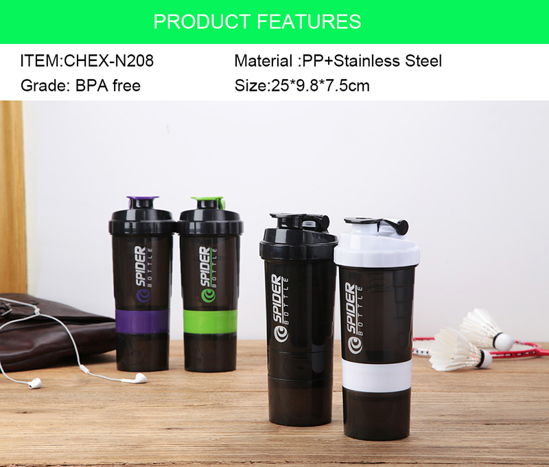 China Wholesale Products BPA Free 304 Steel Mixing Ball Custom LOGO Gym Plastic Shaker Bottle
