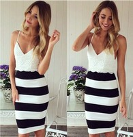 New Lady V-Neck Sey Knee Length Black And White Striped Dress Party Bandage Dresses ZT0207