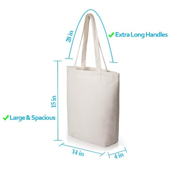 Promo custom printed canvas tote bags for wholesale