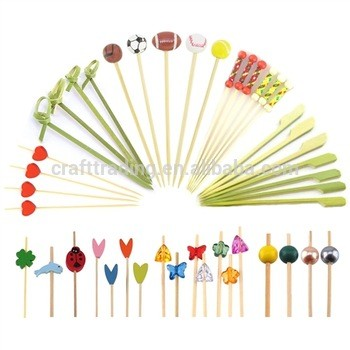 Party Picks Decoration with Ball Colorful Bamboo Sport Picks