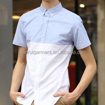 Wholesale Men S European Style Short Sleeve Button Down Collar Two