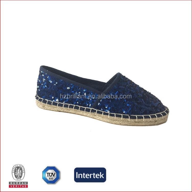 2016 de China Moda alpargatas de yute suela zapatos casuales de color azul oscuro