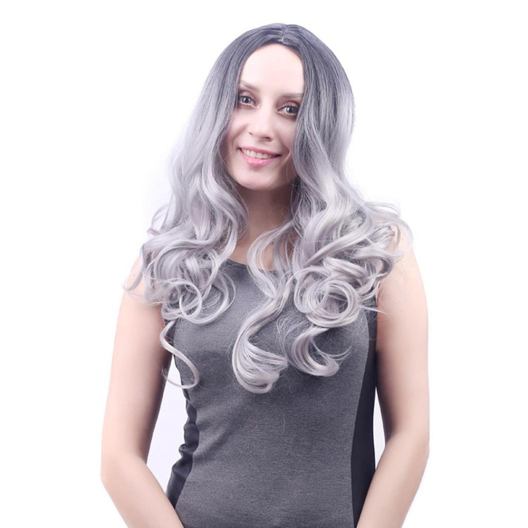 Gray Long Wig,Fheaven Fashion Old Lady Grandma Granny Grey Wig Middle Part Front Bun Hair no Bangs Fancy Dress Costume Full Hair Wigs for Women