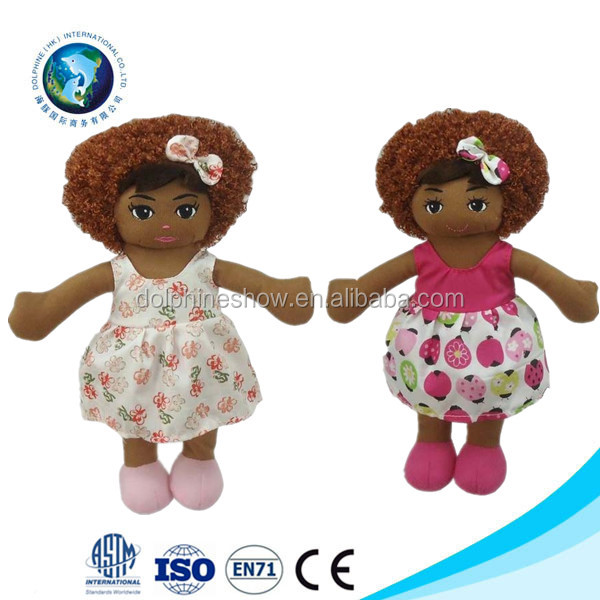 Fashion plush personalized doll african girl with dress popular fashion plush personalized doll african girl with dress popular stuffed plush doll african american negle Images