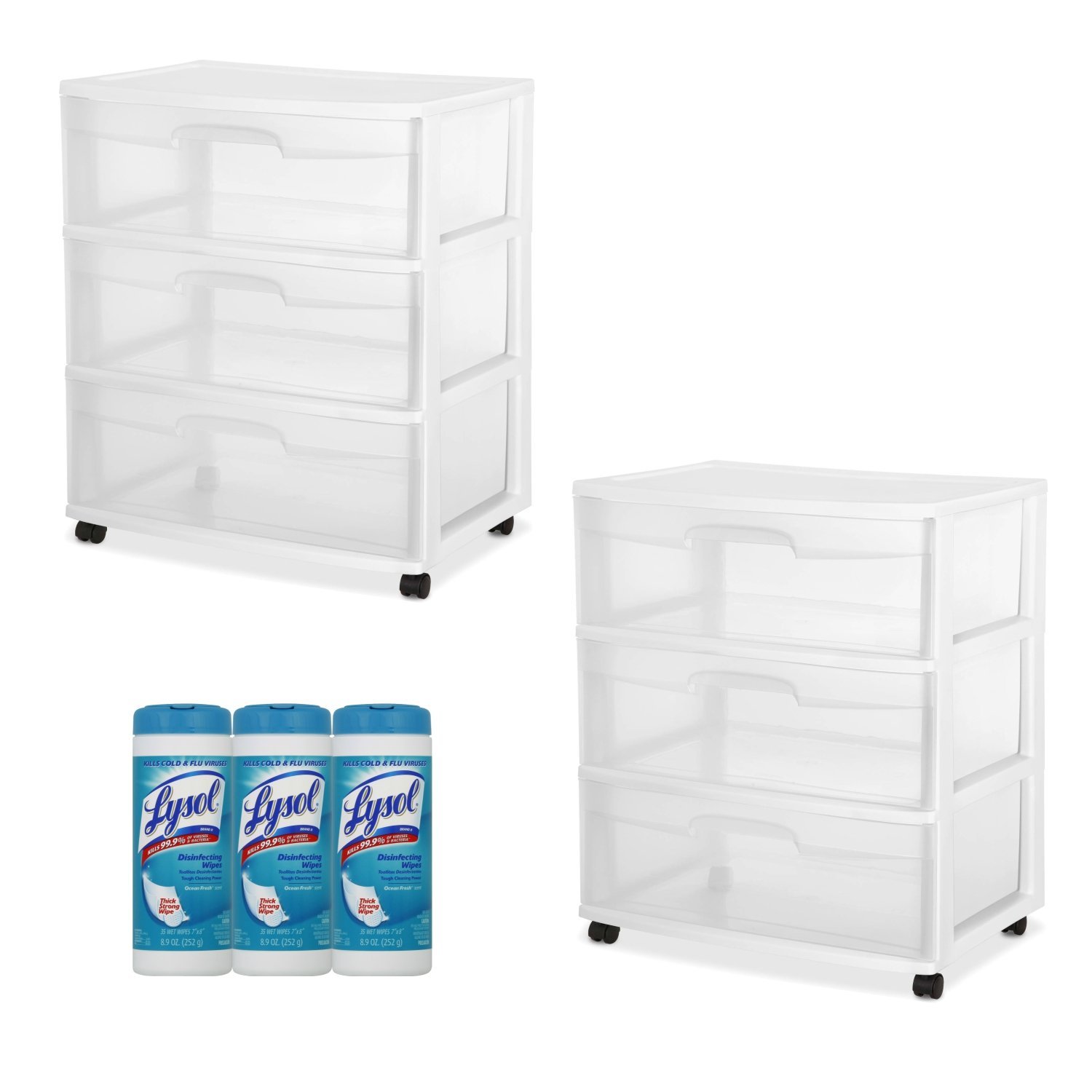 Sterilite 3-Drawer Wide Cart White Frame with See-Through Drawers, 2-PACK with Lysol Disinfecting Wipes, 105 Count
