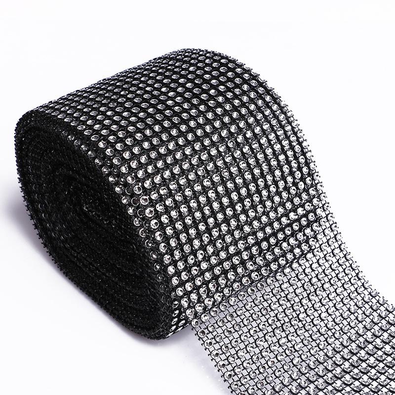 """4.75/""""x10 Yards Silver Mesh Roll Sparkle Wrap Diamond Rhinestone Crystal Ribbon"""