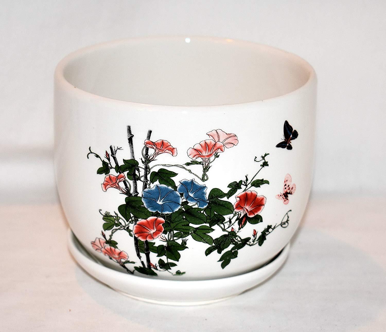 """New 5.5"""" Blue & Pink Morning Glory Flowers & Butterflies Planter Pot & Saucer"""