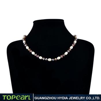 44c012134990 Precio de fábrica 7-8mm perlas blancas con cristal púrpura collar de perlas  de agua