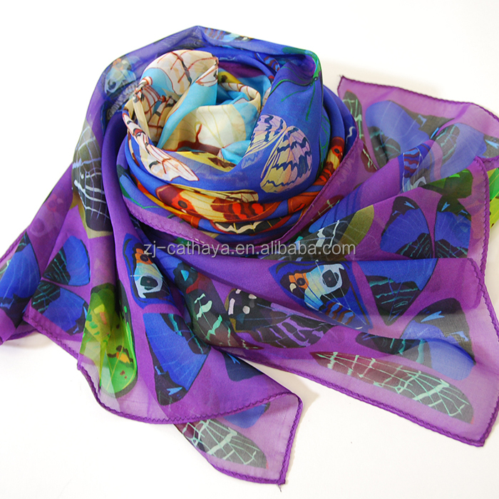 Factory Made 100% Chinese Silk Scarf 6MM Chiffon