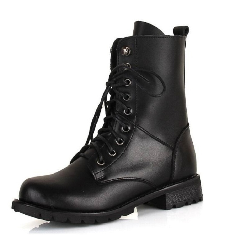 92d710c288d Get Quotations · Black Ankle Boots Women Fashion Women Combat Boots Leather  Round Toe High Quality Lace Up Boots