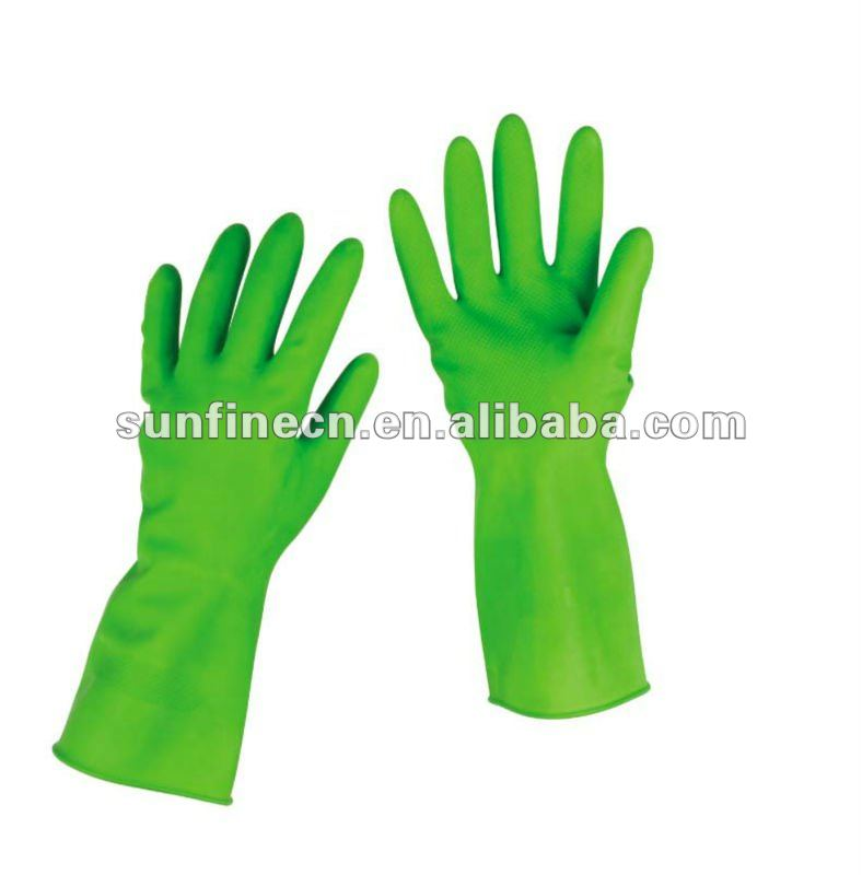 hot sale Flock lined&unlined natural latex cleaning goves household working glove