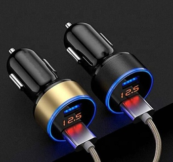 Dual USB with Display Car Charger 3.1A Car Charger Aluminum Alloy Car Charge