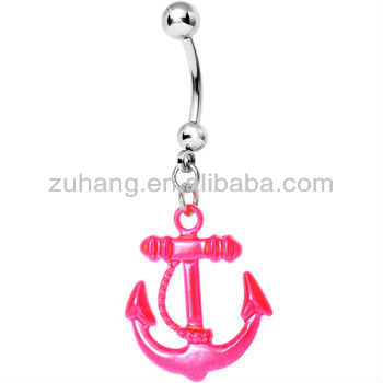 316L Surgical Steel Neon Anchor Dangle Belly Button Navel Ring Body Piercing Jewelry