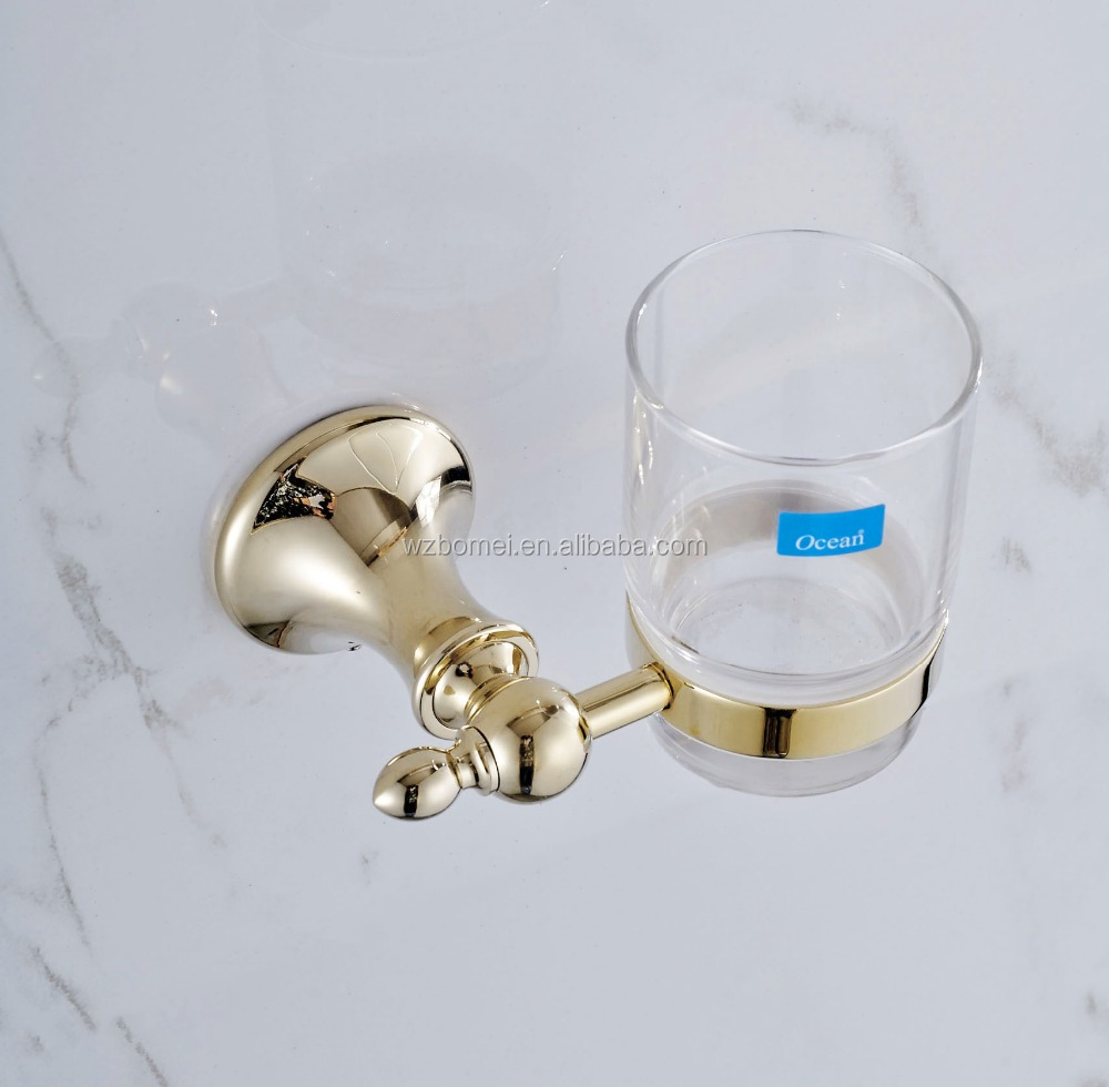 Household Hotel Use Wall Mounted Gold Tumbler Holder BM22758 Toothbrush Toothpaste Holder