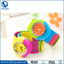Rainbow Wristband Silicone Slap Wrap Watch,Cheapest Kids Silicone Slap Watches Wholesale